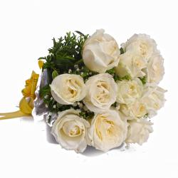 Unblemished White Roses Bunch in Tissue Wrapping