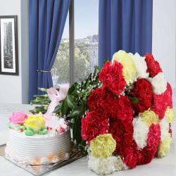 Vanila Cake with Mixed Carnation Bouquet