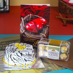 Vanilla Cake with Card and Ferrero Chocolates For Valentine Gift