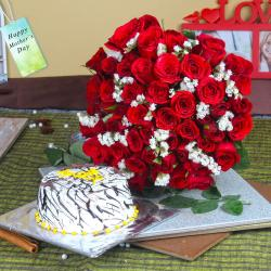 Vanilla Cake with Fifty Red Roses Bouquet For Mom