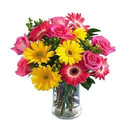 Vase Arrangement Of 15 Flowers