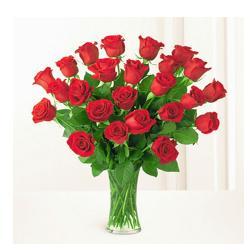 Vase Arrangement Of 24 Red Roses