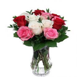 Vase Arrangement of Mix color Roses