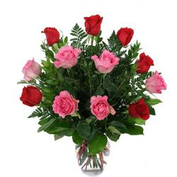 Vase Arrangement of Red and Pink Roses