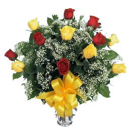 Vase Arrangement of Red and Yellow Roses