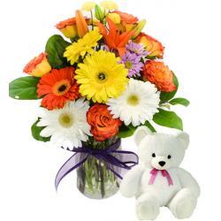 Vase arrangement with Teddy