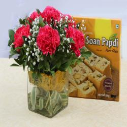 Vase of Pink Carnations with Soan Papdi