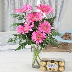 Vase of Pink Gerberas with Ferrero Rocher Chocolates