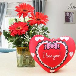 Vase of Red Gerberas with Heart Shape Small Cushion