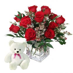 Vase of Red Roses with Teddy Bear