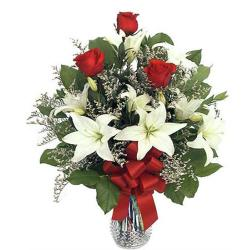 Vase Of  Romantic Roses With Lilies
