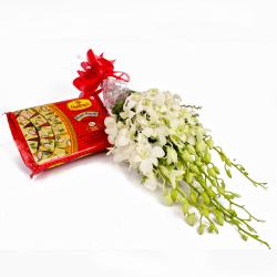 White Orchids Bouquet and Soan Papdi Box
