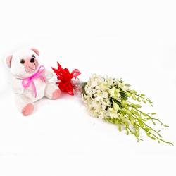 White Orchids Bouquet with Cute Teddy Bear