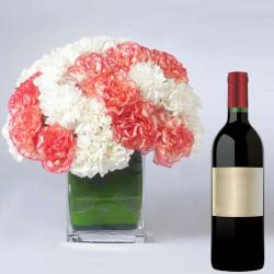 Wine Hamper with Mix Carnations Vase
