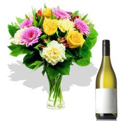 Wine Hamper with Mix Flowers Vase