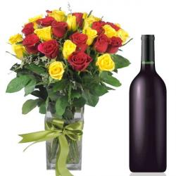Wine Hamper with Mix Roses Vase