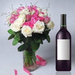 Wine Hamper with Roses Vase