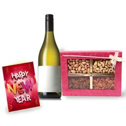 Wine with New Year Greeting Card and Assorted Dry Fruits