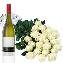 Wine with White Roses