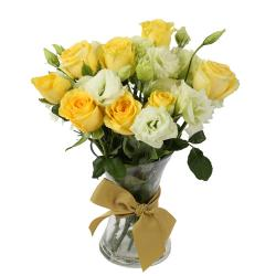 Yellow and White Roses Vase