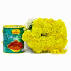 Yellow Carnation Bunch with 1 Kg Gulab Jamuns