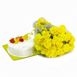 Yellow Carnations and Pineapple Cake