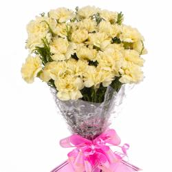 Yellow Carnations Bouquet with Cellophane Packing