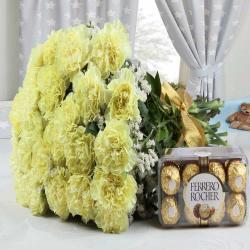 Yellow Carnations Bouquet with Ferrero Rocher Chocolates