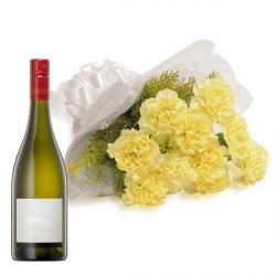 Yellow Carnations with Champagne