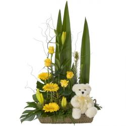 Yellow Flowers with Teddy bear