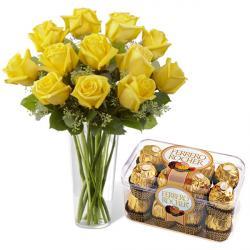 Yellow Roses And Ferrero Chocolates