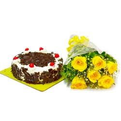Yellow Roses Bouquet and Half Kg Black Forest Cake