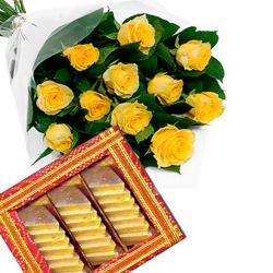 Yellow Roses Bouquet and Kaju Katli