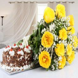 Yellow Roses Bouquet with Black forest Cake