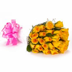 Yellow Roses Designer Bouquet in Tissue Wrapping