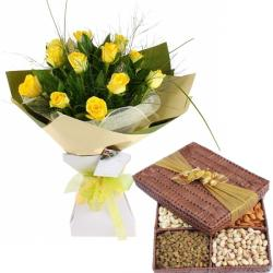 Yellow Roses Dryfruits Pack
