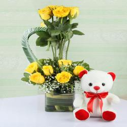 Yellow Roses in Vase Arrangement with Cute Teddy