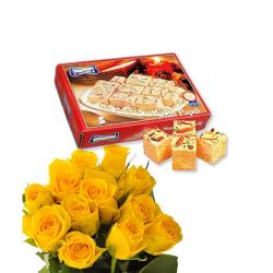 Yellow Roses & Soan Papdi Box