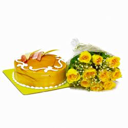 Yellow Roses with Butterscotch Cake as Anniversary Gifts