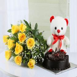 Yellow Roses with Teddy Bear and Chocolate Cake