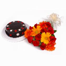 Yummy Chocolate Cake and Bouquet of Gerberas with Roses