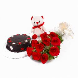 Yummy Chocolate Cake with Red roses and Cuddly Bear