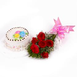 Yummy Vanilla Cake and Six Red Roses Bunch