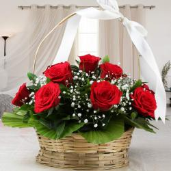 Adorable Basket Arrangement of Red Roses