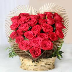 Amazing Red Roses Heart Shape Arrangement