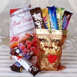 Assorted Imported Bars with Greeting Card Online for Delhi