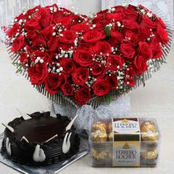 Attractive Roses Arrangement with Chocolate Cake and Ferrero Rocher Box
