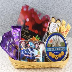 Basket Full of Chocolates and Cookies for New Delhi