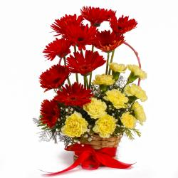 Basket of Red Gerberas with Yellow Carnations