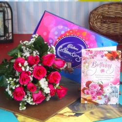 Birthday Celebration Chocolates With Pink Roses And Card For Guwahati